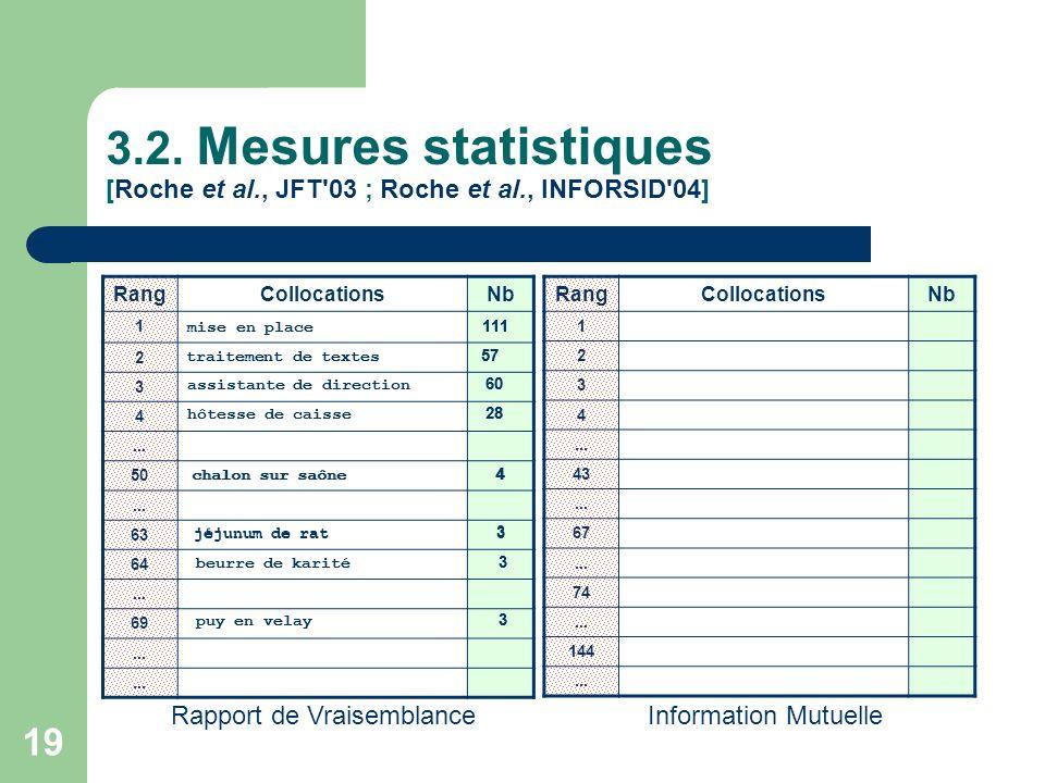 3. 2. Mesures statistiques [Roche et al. , JFT 03 ; Roche et al